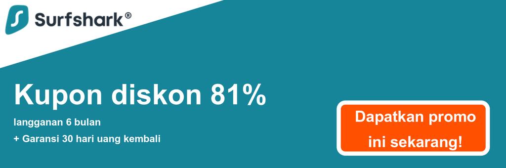 Grafik spanduk kupon Surfshark yang menunjukkan diskon 81% $ 2.49 / bln untuk paket 2 Tahun