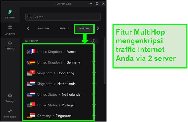Tangkapan layar dari tinjauan server Surfshark yang menampilkan server MultiHop mereka