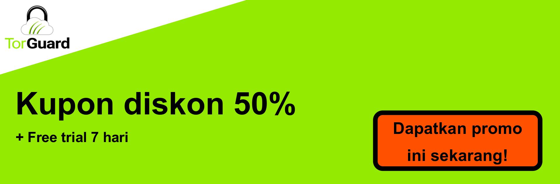 Spanduk kupon VPN TorGuard - diskon 50%