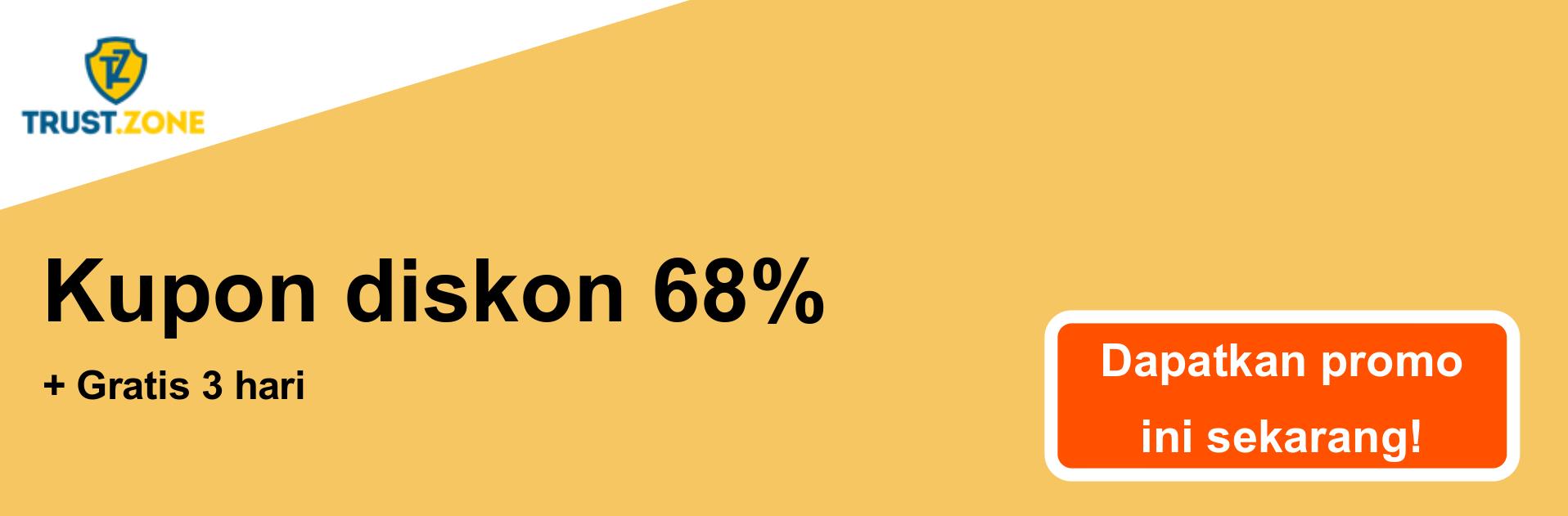 Spanduk kupon VPN Trust.Zone - diskon 68%