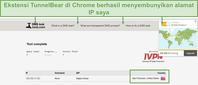 Tangkapan layar hasil uji kebocoran DNS saat terhubung ke TunnelBear.