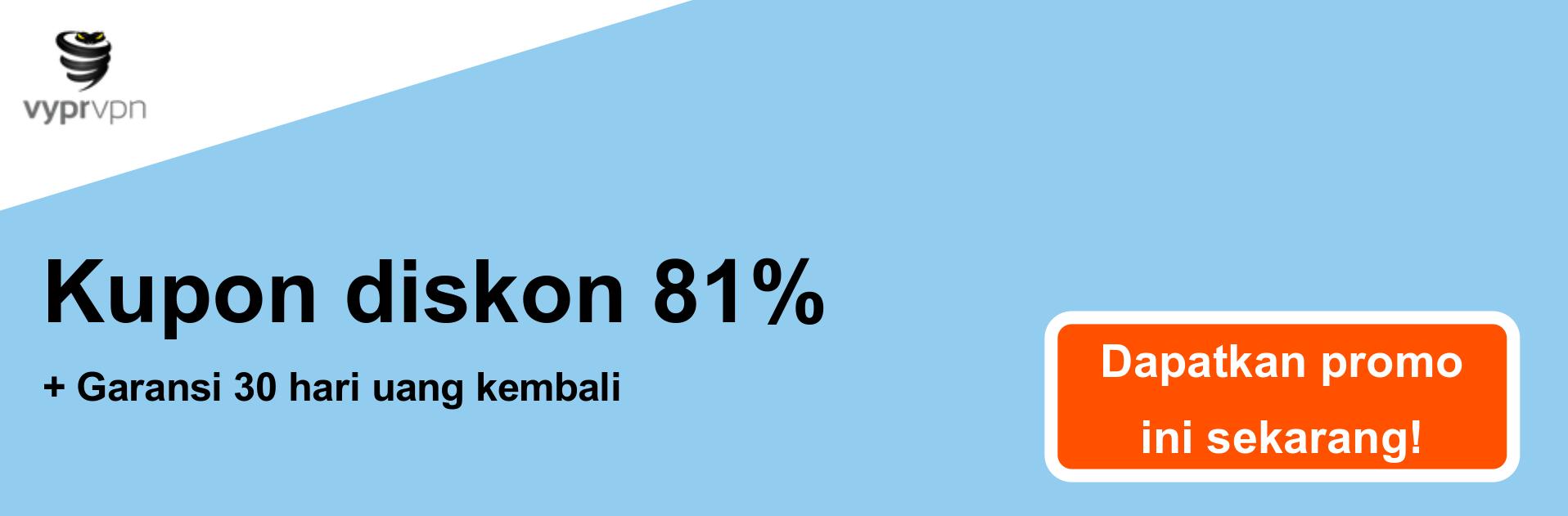 Spanduk kupon Vypr VPN - diskon 81%