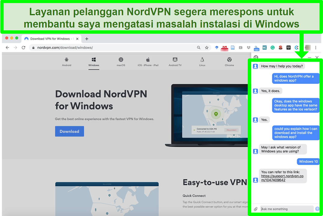 Screenshot of a NordVPN's customer service assisting in the Windows installation process.