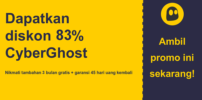 grafik spanduk kupon utama CyberGhostVPN yang menunjukkan diskon 83%