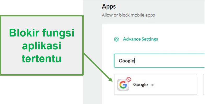 Mobicip memblokir aplikasi