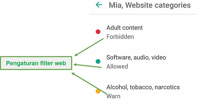 Safe Kids menyesuaikan filter web