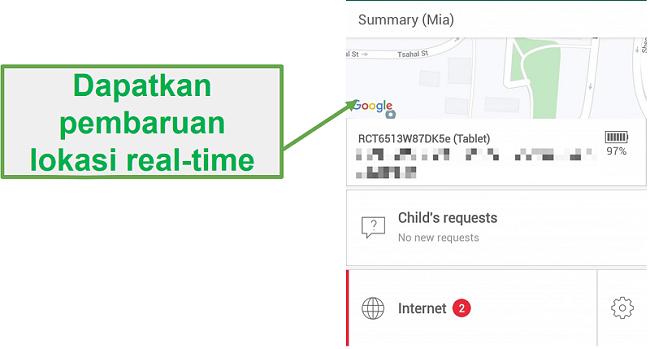 Safe Kids Pelacakan real-time secara real time