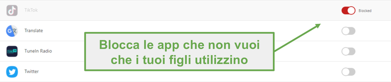 Blocca le app con Norton Family