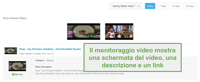 Supervisione video con Norton Family