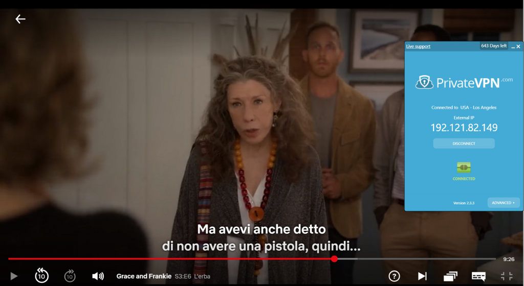Screenshot di Surfshark connesso al server statunitense con Grace e Frankie in streaming su Netflix USA