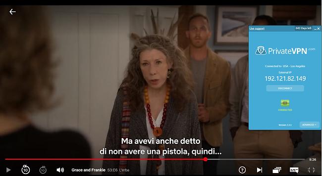 Screenshot di Surfshark connesso al server statunitense con Grace e Frankie in streaming su Netflix USA