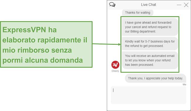 Screenshot del rimborso di ExpressVPN tramite chat dal vivo.