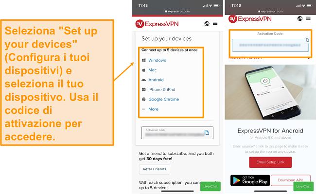 Screenshot della configurazione del dispositivo mobile ExpressVPN.