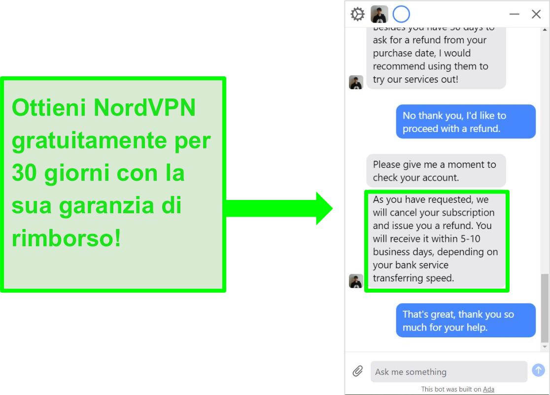 Schermata dell'utente che chiede a NordVPN un rimborso con la garanzia di rimborso di 30 giorni sulla live chat
