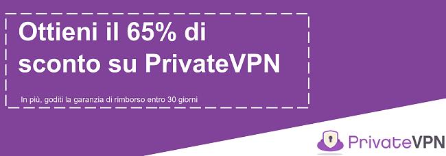 Immagine di un coupon di PrivateVPN funzionante che offre uno sconto del 65% con una garanzia di rimborso di 30 giorni