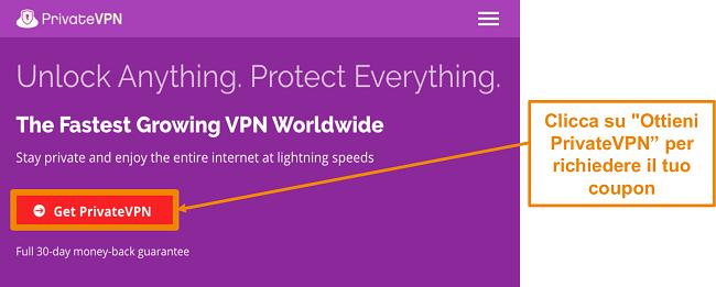 Screenshot della schermata principale di PrivateVPN con estensione