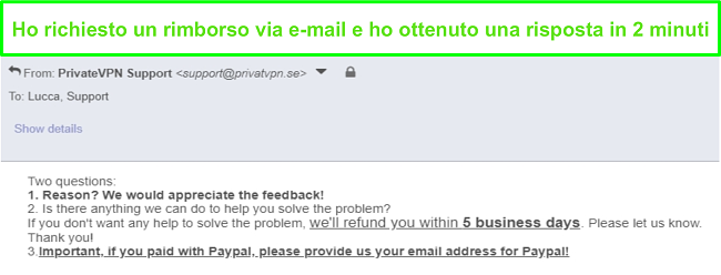 Screenshot di PrivateVPN che risponde rapidamente alla mia richiesta di rimborso tramite e-mail