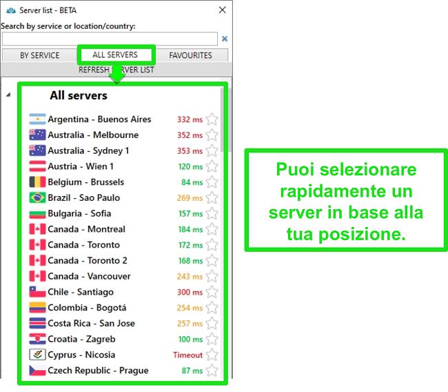 Screenshot delle posizioni dei server di PrivateVPN nell'elenco
