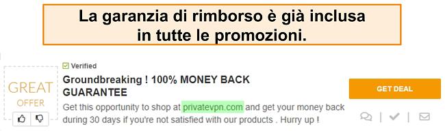 Screenshot di un coupon di PrivateVPN che pubblicizza una garanzia di rimborso come un