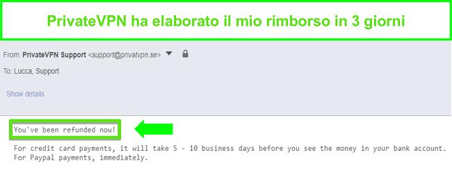Screenshot della risposta di PrivateVPN dopo l'elaborazione di un rimborso