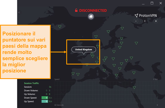 Screenshot della mappa interattiva del server di ProtonVPN.
