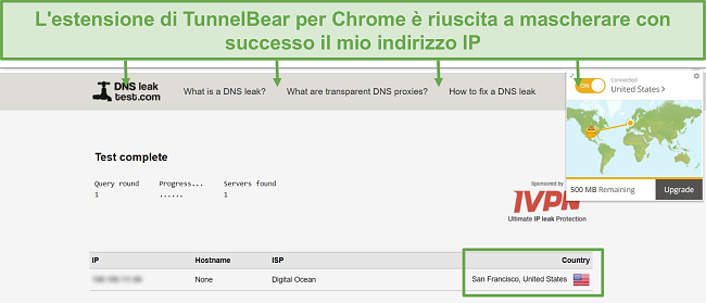 Screenshot dei risultati del test di tenuta DNS quando connesso a TunnelBear.