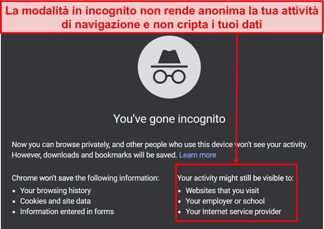 Screenshot delle notifiche in modalità in incognito.