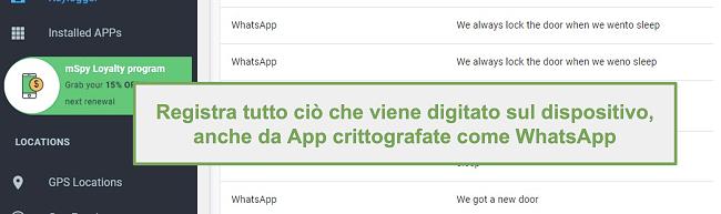 Screenshot dei registri di app crittografate come WhatsApp