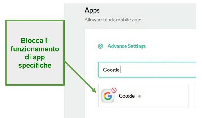 Mobicip blocca le app
