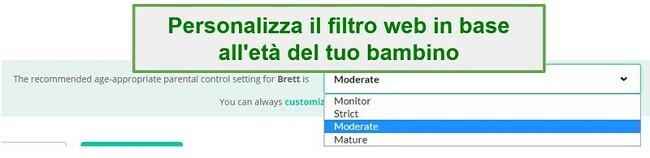 Mobicip filter options