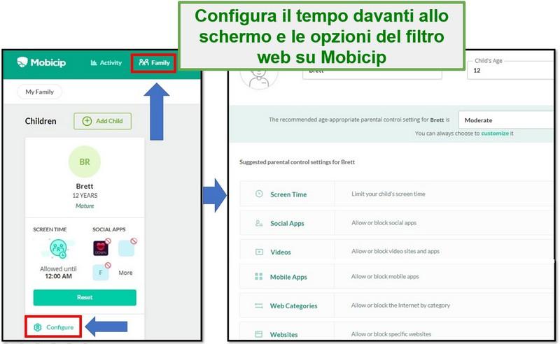Filtro web di configurazione Mobicip