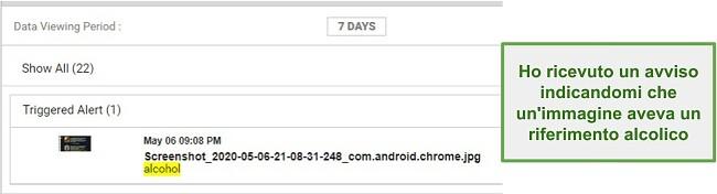 Screenshot degli avvisi di WebWatcher dalle immagini