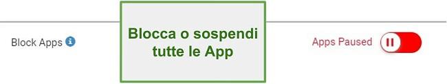 Screenshot di Webwatcher blocca o metti in pausa le app
