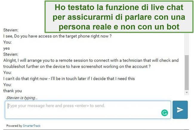 Screenshot dell'assistenza clienti di Webwatcher