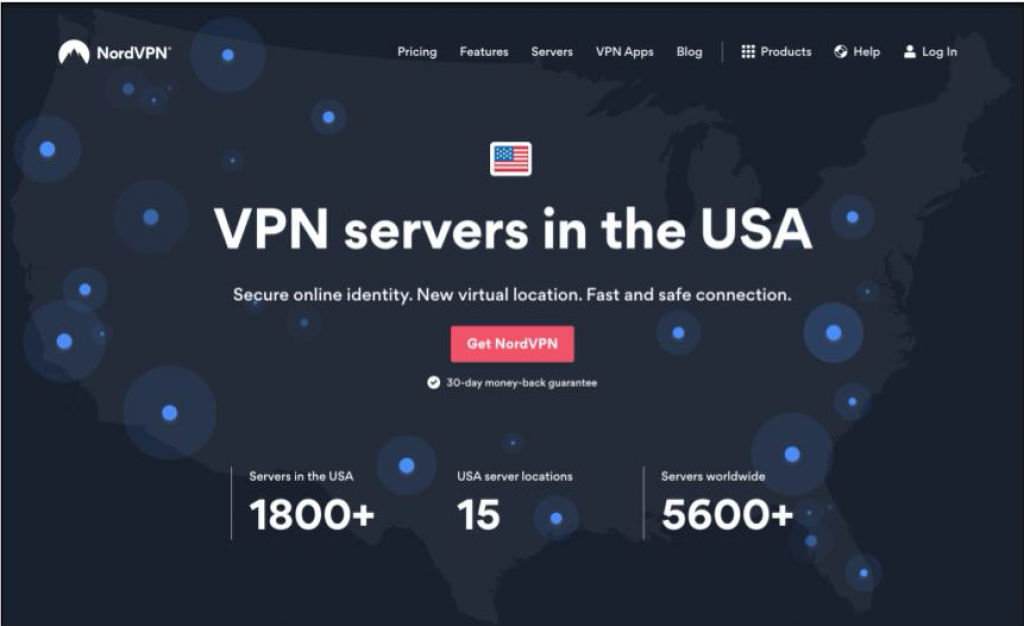 Screenshot of NordVPN's vendor welcome page for its US VPN service with product information and purchasing links.
