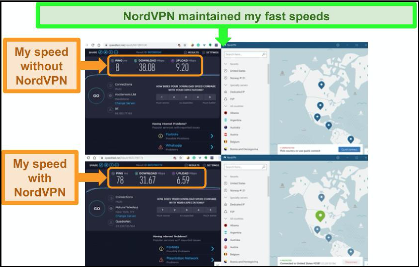Screenshot of speed test without VPN and connected to a NordVPN US server.