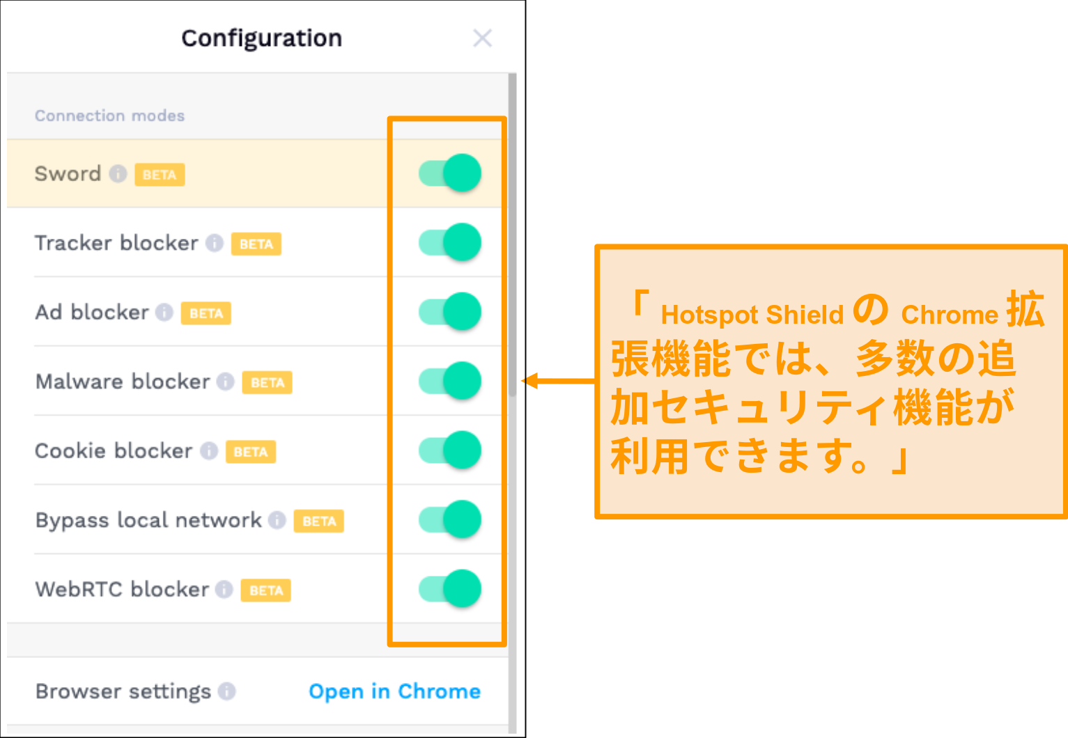 HotSpotShieldのChrome拡張機能のセキュリティ機能のスクリーンショット。