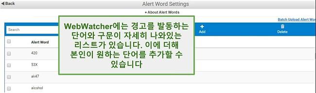 Webwatcher 경고 단어의 스크린샷
