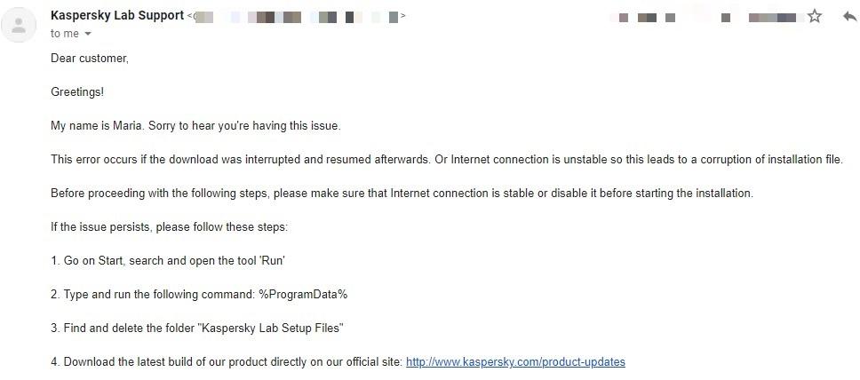 Kaspersky Customer Support