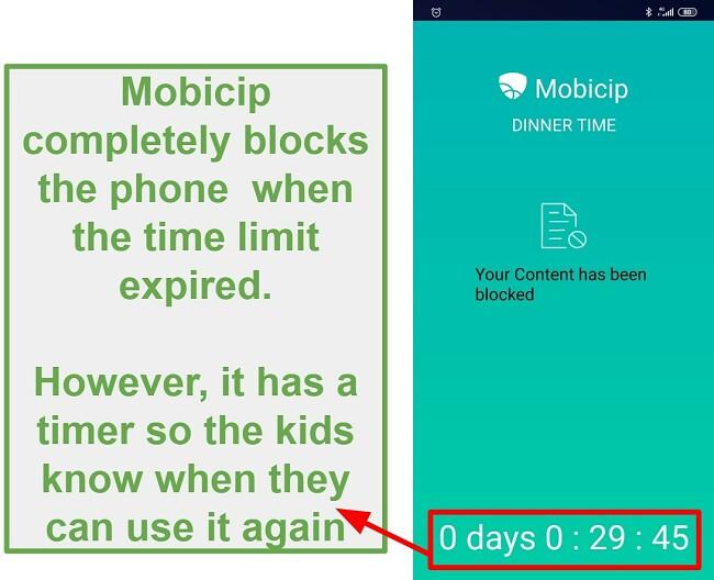Mobicip blocks a device