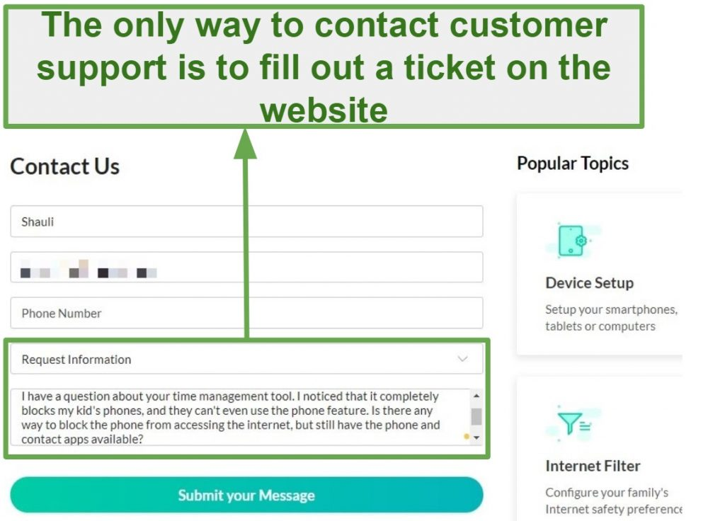 Screenshot of Mobicip's Support page showing contact form to submit to customer service