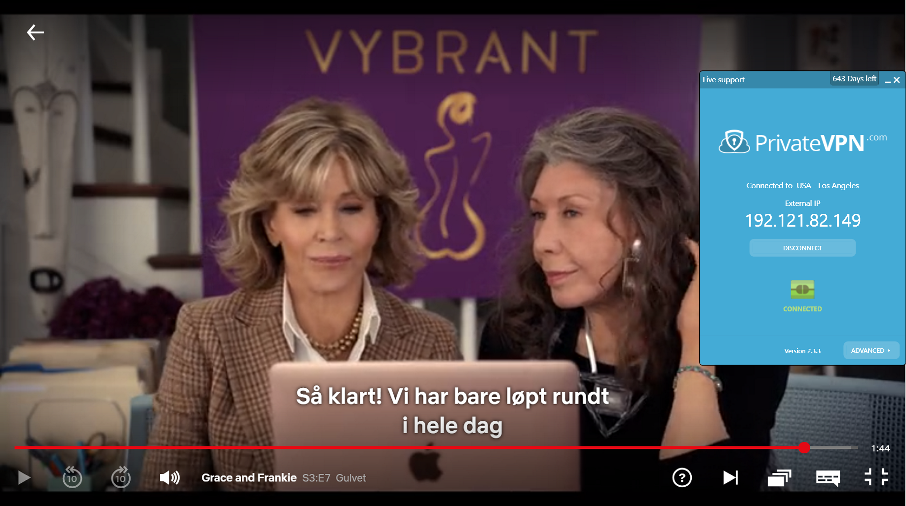 Screenshot of PrivateVPN connected to US server with Grace and Frankie streaming on Netflix US