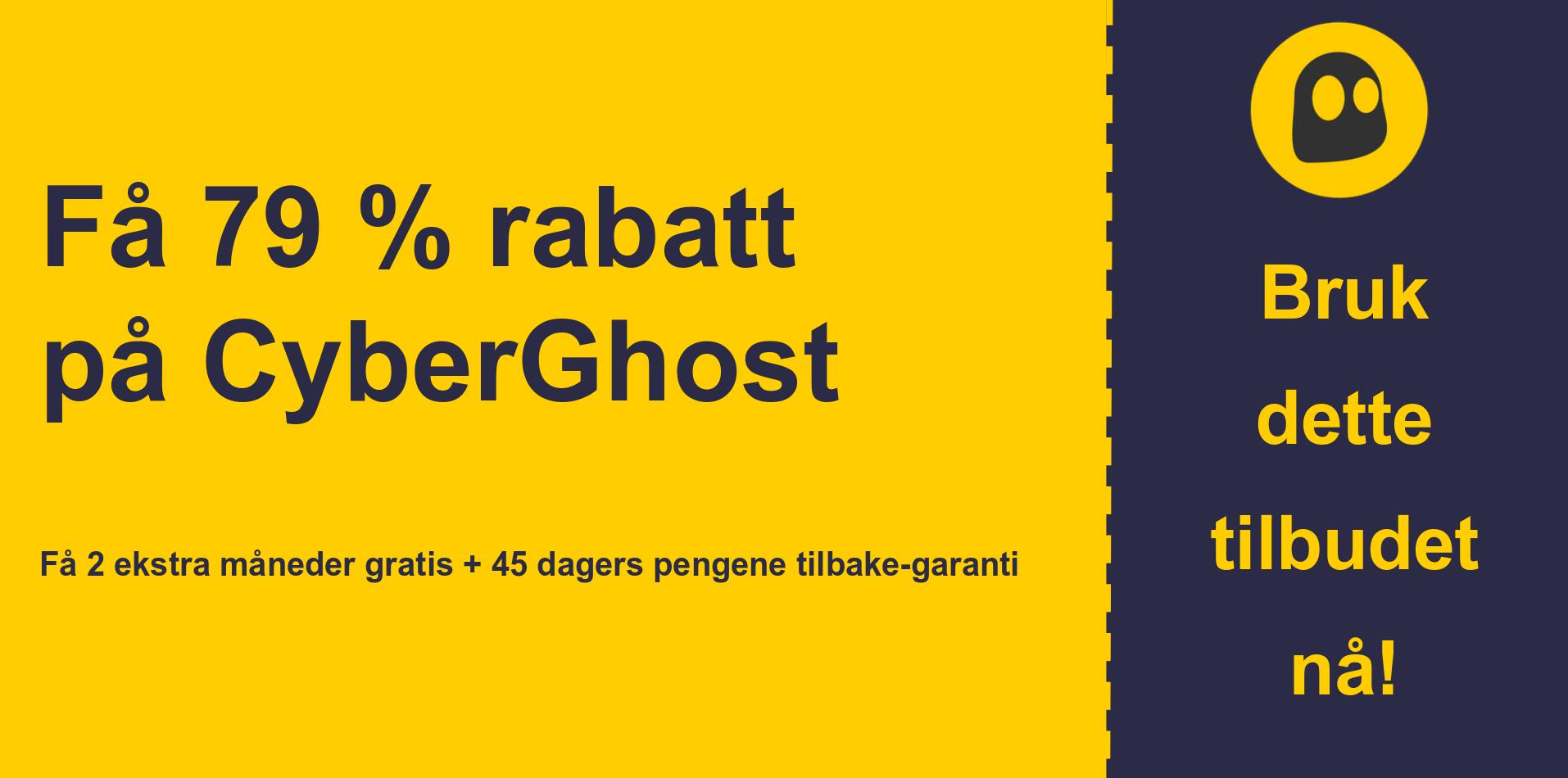 grafikk av CyberGhostVPN hovedkupongbanner som viser 79% avslag