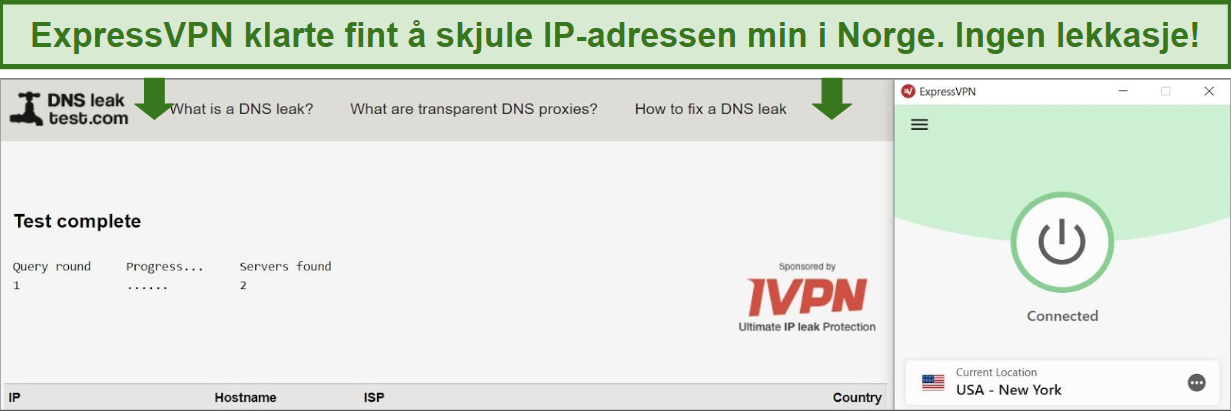 Screenshot of successful DNS leak test while connected to ExpressVPN.