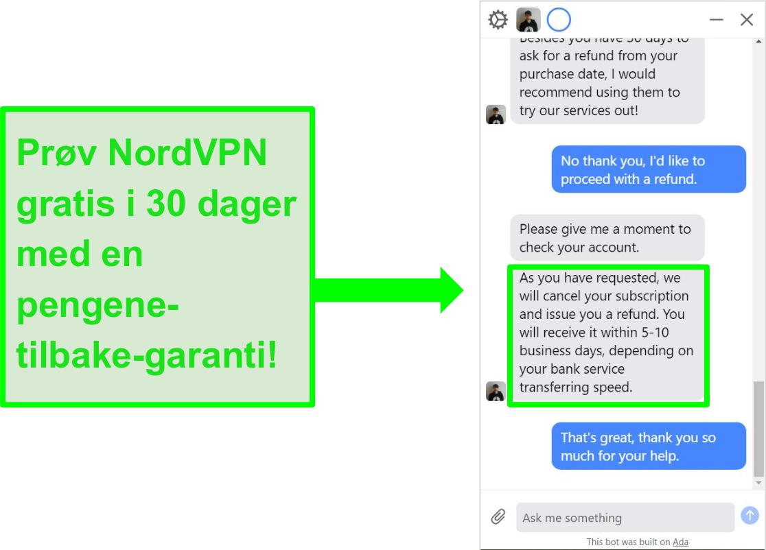 Skjermbilde av bruker som ber NordVPN om refusjon med 30-dagers pengene-tilbake-garanti på live chat