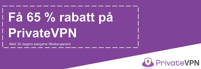Grafikk av en fungerende PrivateVPN-kupong som tilbyr 65% rabatt med 30-dagers pengene-tilbake-garanti