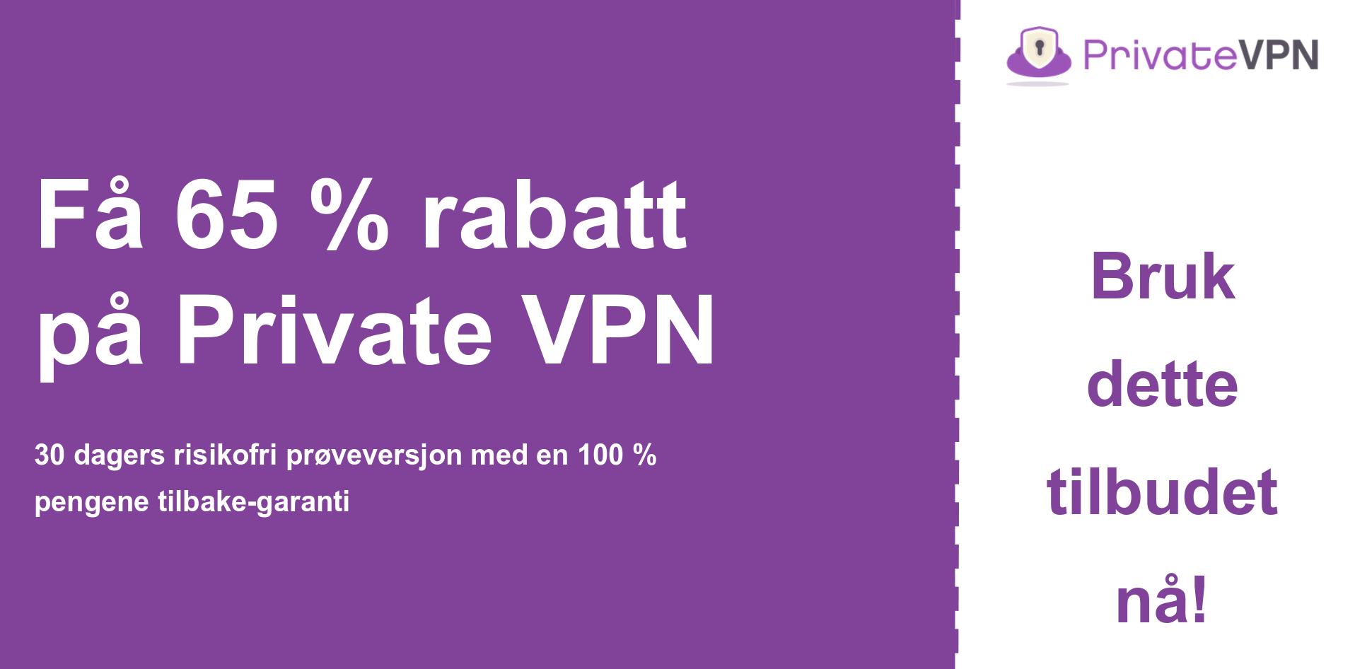 grafikk av PrivateVPN hovedkupongbanner som viser 65% avslag