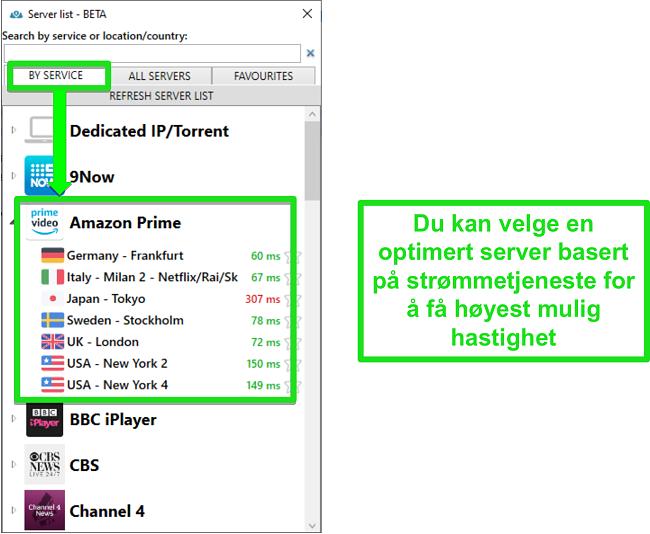 Skjermbilde av streaming-serveralternativer for PrivateVPN