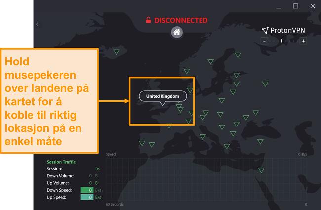 Skjermbilde av ProtonVPNs interaktive serverkart.