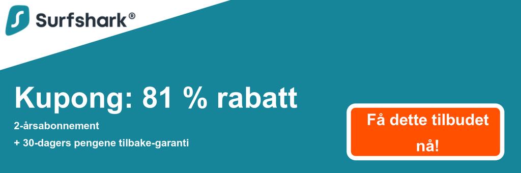 Grafikk av Surfsharks kupongbanner som viser 81% avslag på $ 2,49 / mo for en 2-års plan